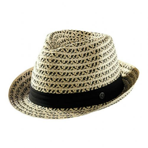 Straw Black Trilby Hat with Black Band - Bugatti